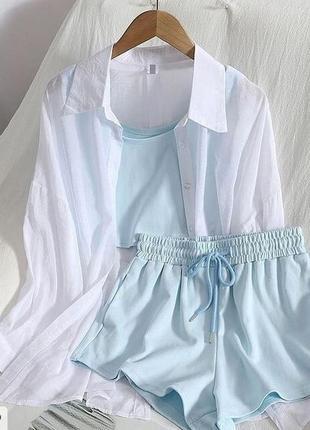 Костюм шорты+ топ + рубашка