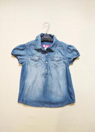 Стильная джинсовая блуза блузка рубашка h&m 8-10 лет