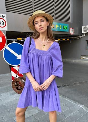 Платье летнее женское легкое свободное мини короткое оверсайз лиловое фиолетовое