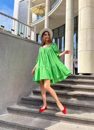Платье летнее женское легкое свободное мини короткое оверсайз зеленое