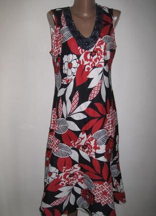 Льняное платье george р-р14 крупные цветы, бусинки