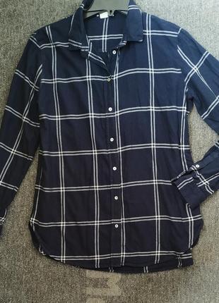 Хлопковая широкая  рубашка в клетку н&м