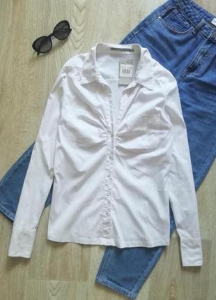 Базовая белая рубашка, сорочка, блузка, рубашка в офисном стиле, рубашка в деловом стиле