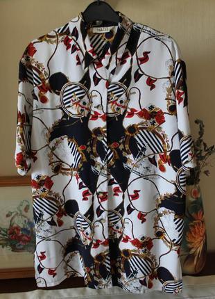 Блуза рубашка в морской тематике вінтаж