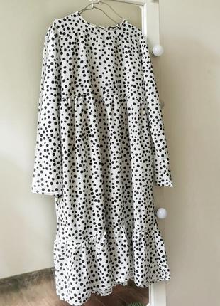 Сукня міді вільного крою в горошок boohoo белое свободное платье в горошек