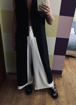 Льняная рубашка блузка жилет накидка