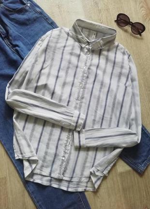 Хлопковая рубашка свободного кроя в полоску, сорочка, блузка свободного кроя, рубашка оверсайз, рубашка бойфренд, пляжная рубашка накидка
