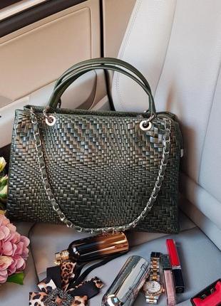Италия замша и кожа плетёная сумочка на длинной цепочке genuine leather зеленая хаки никель короткие ручки классическая а4 vera pelle