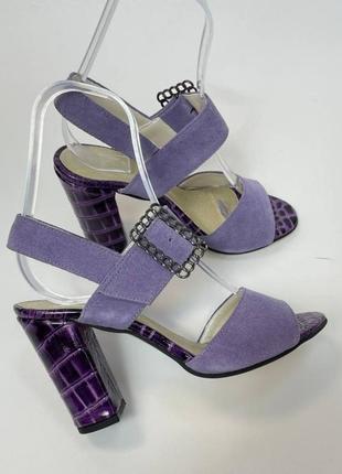 Эксклюзивные босоножки женские натуральная итальянская кожа и замша лиловые фиолетовые рептилия