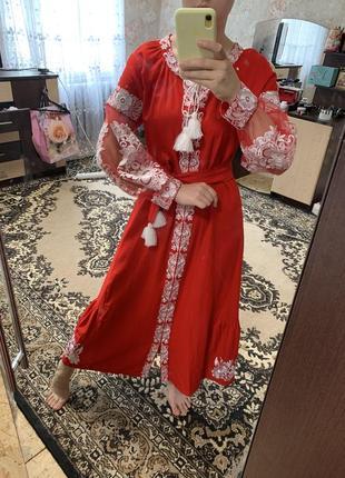 Сукня вишиванка, вишита сорочка, червона сукня