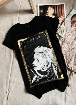 Чёрная футболка с принтом элли голдинг ellie goulding