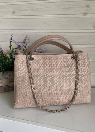 🔥бежевая сумка кожаная натуральная италия genuine leather кремовая с длинной цепочкой vera pelle