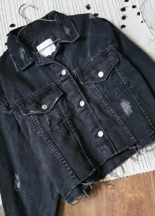 Вкорочена чорна джинсовка  zara чёрная укороченная джинсовая куртка