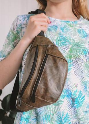 Бананка кожа шкіра эко-сумка на пояс ручная работа большая песочная мраморная мрамор б2
