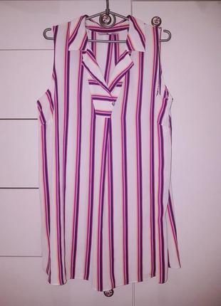 Удлиненная блуза в полооску с воротником без рукавов