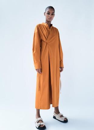 Нереальное платье рубашка из поплина на запах zara