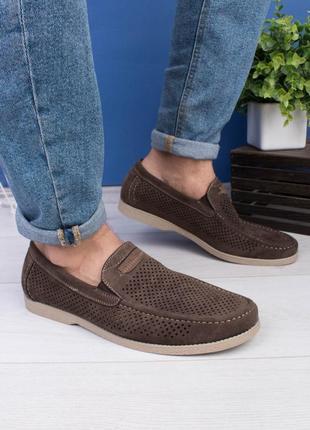 🌿 мужские коричневые туфли с перфорацией1 фото