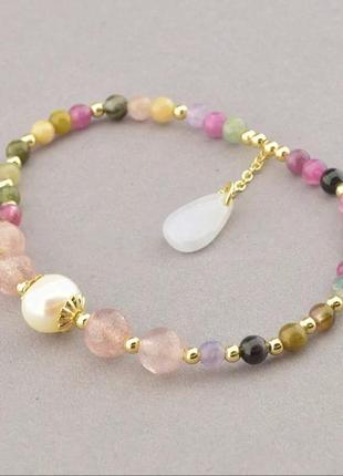 Позолоченный браслет турмалин жемчуг кварц