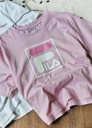 Брендовий рожевий кроп топ  fila розовый кроптоп