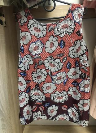 Блуза легкая летняя принт цветы топ