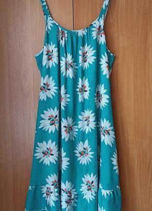 Натуральное платье сарафан с цветочным  принтом