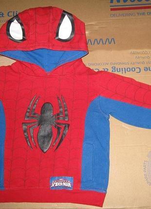 Кофта джемпер толстовка  spider man супермен человек паук теплая с капюшоном коттон 100%