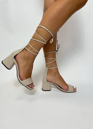 Эксклюзивные босоножки женские натуральная итальянская кожа и замша люкс бежевые со шнурком