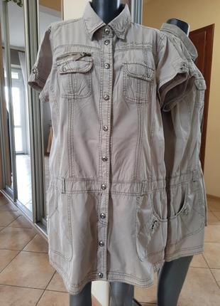 Джинсовое с карманами и надписью платье 👗, удлинённая рубашка, туника большого размера