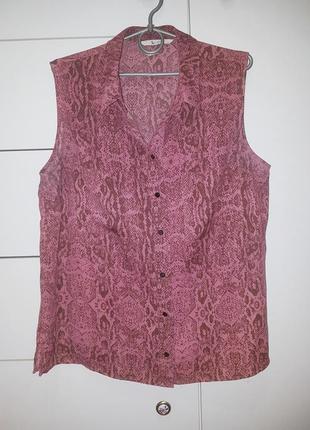 Блуза летняя без рукавов змеиный принт