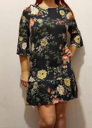 100% вискоза платье в цветочный принт большого размера