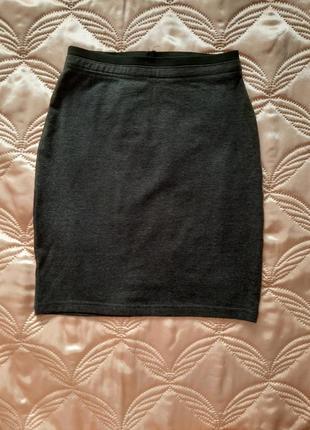 Серая мини юбка карандаш