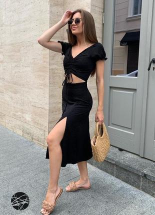 Черный костюм топ и юбка