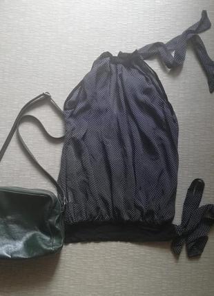 Блуза шифоновая, горошек, на завязках, размер хs-s