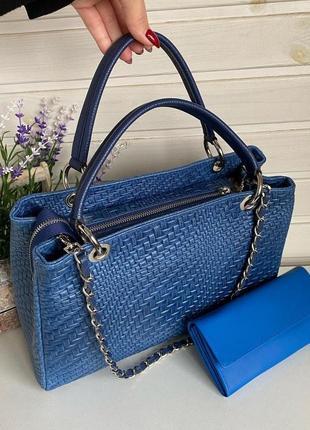 Стильная классическая женская сумочка синяя натуральная кожа genyine leather италия короткие ручки и длинный ремешок цепочка электрик vera pelle