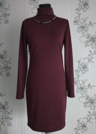 Новое трикотажное марсаловое бордовое платье-гольф ,размер s,m,l.