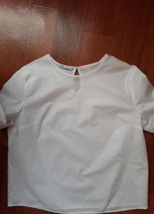 Белоснежная хлопковая блуза свободного кроя в новом состоянии  оodji