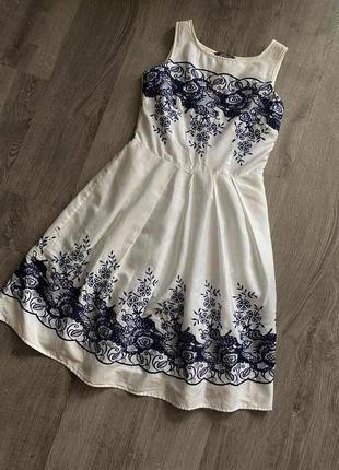Брендовое невероятное платье-миди с прошвы с вышивкой  ажурное 👗