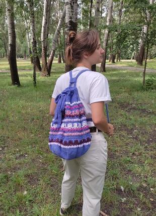 Вязаный этно-рюкзак ручной работы