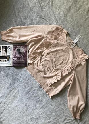 Новая коттоновая блуза с прошвой george