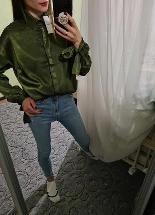 Шикарная изумрудная рубашка, сорочка оверсайз