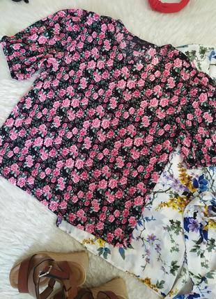 Цветочная блуза с рукавами буфами размер m l бренда primark