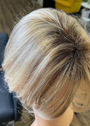 Универсальный короткий матовый парик блонд омбре перука