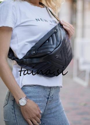 Женская бананка черная бананка черная сумка через плечо сумка на пояс бананка стеганая