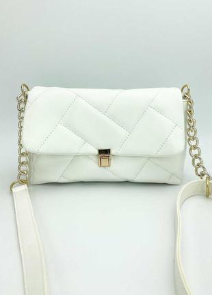 Женская белая сумка стеганая сумка стеганый белый клатч кросс боди сумка через плечо