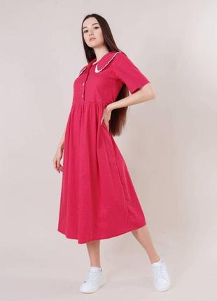 Хлопковое красное платье в горошек миди с воротником