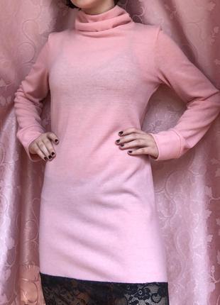 Рожеве плаття з чорним мереживом / розовое платье с черным кружевом