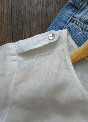 Натаральная белая туника льняная, оверсайз7 фото