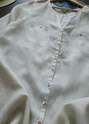 Натаральная белая туника льняная, оверсайз3 фото