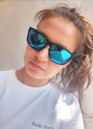 Крутые синие зеркальные очки стиль вайфареры поляризация