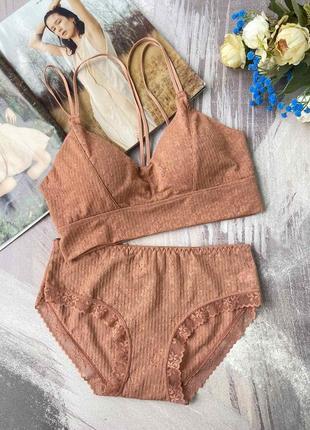Нежный оранжевый универсальный комплект женского нижнего белья